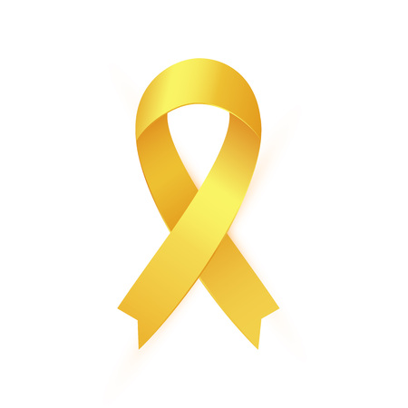 Gold Ribbon to Childhood Cancer Awareness Month. Yellow ribbon