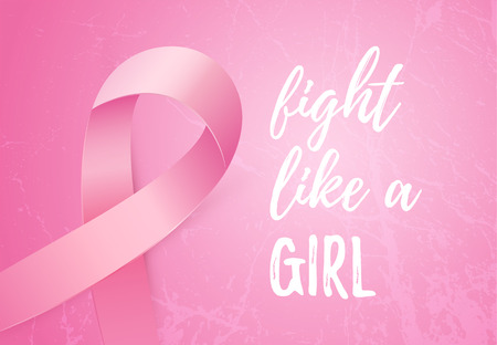 Fight like a Girl message. Pink ribbon to World Breast Cancer Awareness month. Stok Fotoğraf