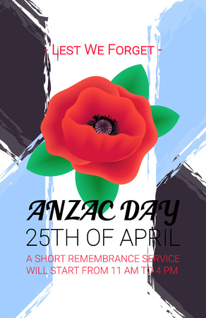 Anzac Day Lest We Forget banner. Remembrance service poster.
