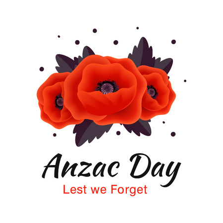 Anzac Day vector card. Red Poppy flower
