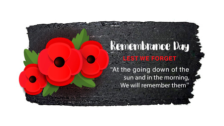 Remembrance Day vector poster on a hand drawn ink background. Stock Photo