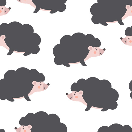 Cute Seamless Hedgehog pattern. Cartoon baby Porcupine isolated on white background. Lovely childish backdrop for fabric, textile, nursery wallpaper. Vector Illustration
