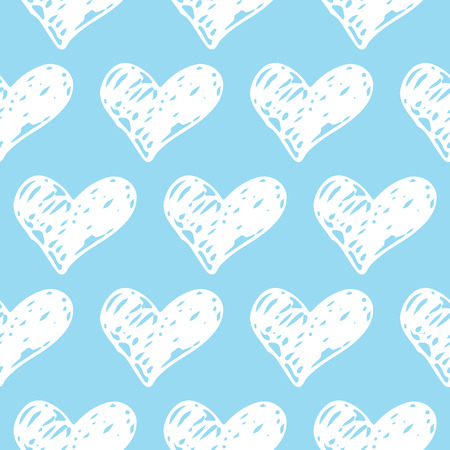 Cute Seamless Hand drawn Hearts pattern. Blue and White Ink design for t-shirt, dress, cloths. Sketchy Valentine's Day or Baby Shower background for Boy. Vector illustration EPS 10 file. Vettoriali