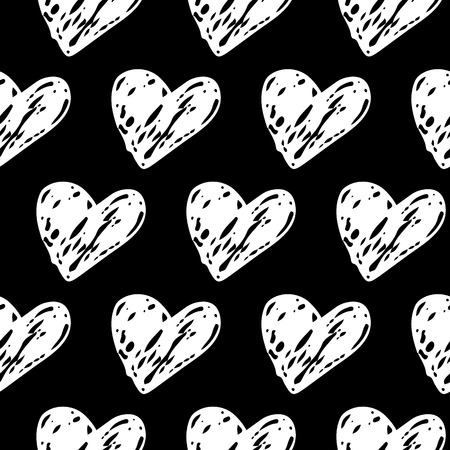 Elegante Seamless Hand drawn Hearts pattern. Black and White Ink design for t-shirt, dress, cloths. Sketchy Valentine's Day or Wedding background. Vector illustration EPS 10 file.