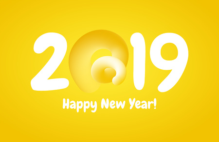 2019 Happy New Year greeting banner with Curly Pig Tail in a shape of number. A symbol of the Chinese 2019 year. Stock Photo