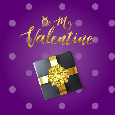 Be My Valentine greeting banner with 3D Realistic Gift Box and Shiny Gold Bow. Elegant Happy Valentine's Day card on violet polca dot backdrop. Vector illustration