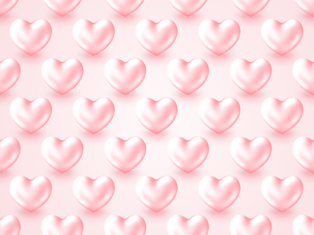 3D Metallic Heart Valentine's Day background. Beautiful realistic shape of pastel pink Hearts isolated on white background. Grid layout decor. Vector illustration holidays texture. Ilustração