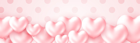 Beautiful Happy Valentine's Day banner with 3d metallic glossy Hearts Pink color isolated on cute polca dot background. Greeting text on soft pink background. Vector illustration Vectores
