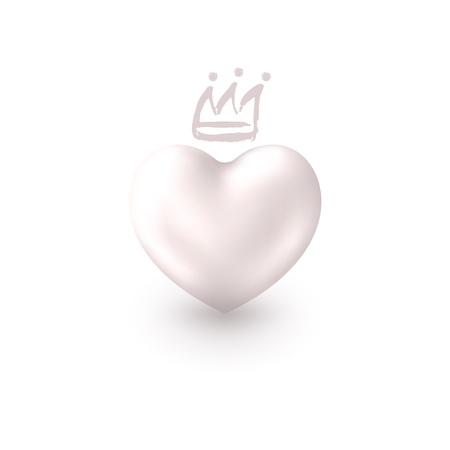 Love Realistic Silver Heart with cute Crown isolated on white background. Shiny 3d elegant symbol for queens or kings design idea. Valentine's Day greeting card, tag, sticker. Vector illustration. Stock Illustratie