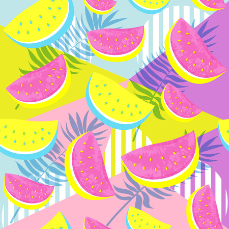 Seamless Watermelon Pattern isolated on hand drawn brush background