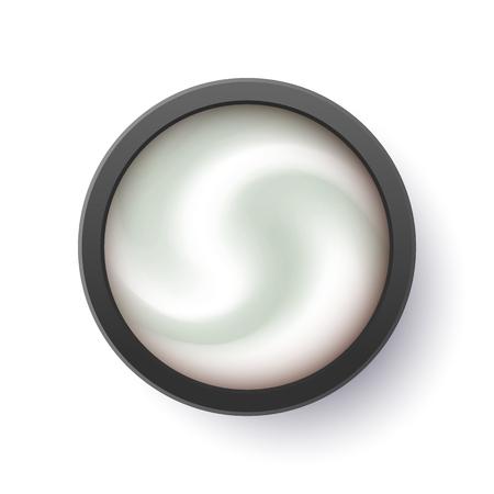 Realistic Gray Eyeshadow for brand promotion magazine catalog. Silver Cream smear, premium skin care cosmetics. Ilustracja
