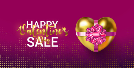 Happy Valentines Day SALE banner with golden lettering. 3d glowing Gift Box and Realistic Heart with pink Bow and ribbon. For shopping and poster, add, article, flyers, banners. Vector illustration