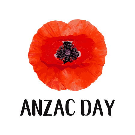 Anzac Day Memorial banner. Red Poppy flower International Remembrance Day symbol of peace. Vector Illustration EPS 10 file.