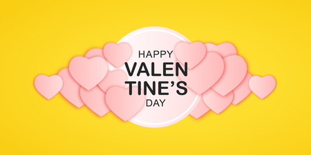 Happy Valentines Day horizontal banner with lettering and paper hearts pink color. Luxury cover isolated on yellow background. Cute holidays poster, add, header, website, article. Vector illustration