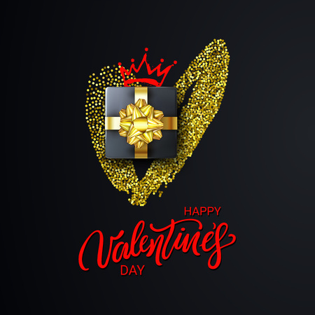 Happy Valentines Day Lettering with Gold Glitter Heart, realistic Gift Box and a Crown. Glittering cover on dark background. Holidays banner, poster, add, header, website, article. Vector illustration