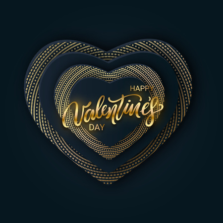 Happy Valentines Day banner with paper hearts black color and gold lettering. Glittering luxury cover on dark background. Horizontal holidays poster, add, header, website, article. Vector illustration