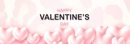 Beautiful Happy Valentines Day lettering banner with 3d soft Hearts Pastel color. Modern stylish patterned background. Horizontal holidays poster, add, header, website, article. Vector illustration Ilustrace