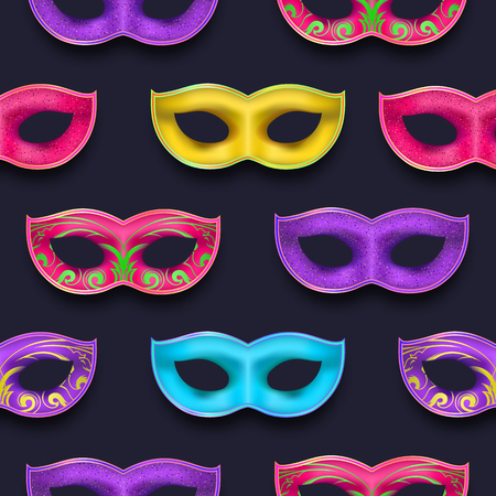 Mardi Gras endless pattern. Venetian painted Carnival Mask collection. Masquerade realistic colorful party decoration with a shadow isolated on dark night backdrop