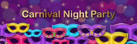 Carnival Night Party banner with gold Lettering. Masquerade Masks on shiny bokeh background. Mardi Gras invitation card. Funfair flyer.