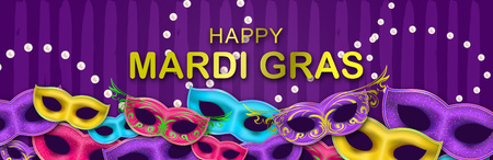 Carnival Night Party banner with gold Lettering. Masquerade Masks on hand drawn background. Mardi Gras invitation card. Funfair flyer.