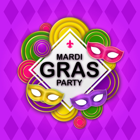 Mardi Gras Party banner with a Lettering, 3d realistic carnival masks, decorative floral elements and geometric Mardigras pattern. Fun Circus amusement poster. Paper Funfair flyer. Vector illustration
