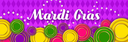 Mardi Gras Party banner with a Lettering, carnival mask, floral elements, beads and Mardigras cover. Circus amusement poster. Funfair flyer.