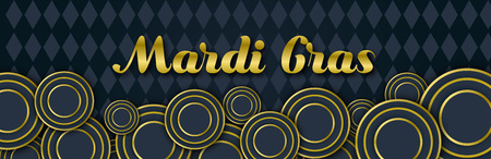 Mardi Gras Party banner with Gold Lettering, 3d Carnival decorative floral elements, circles and dark black geometric Mardigras pattern. Circus amusement poster. Funfair flyer. Vector illustration