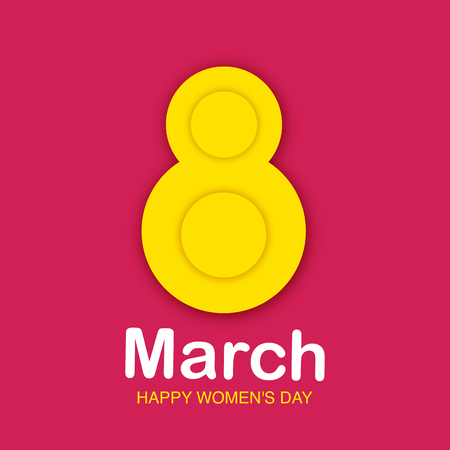 8 March greeting card to International Womens Day. 3d paper cut number 8 isolated on a pink background. Cute romantic banner, tag, flyer, postcard, poster design. Vector Illustration.