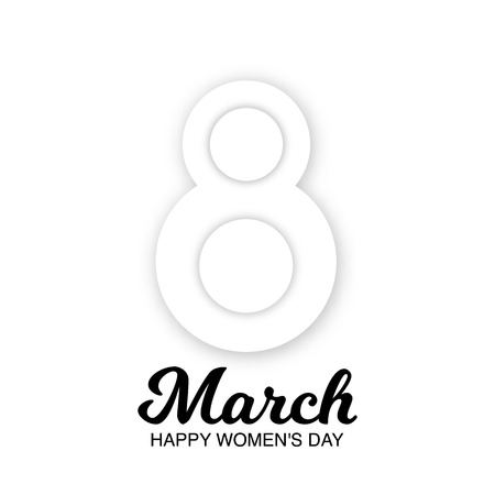 8 March greeting card to International Womens Day. 3d paper cut number 8 isolated on a white background. Cute romantic banner, tag, flyer, postcard, poster design. Vector Illustration.