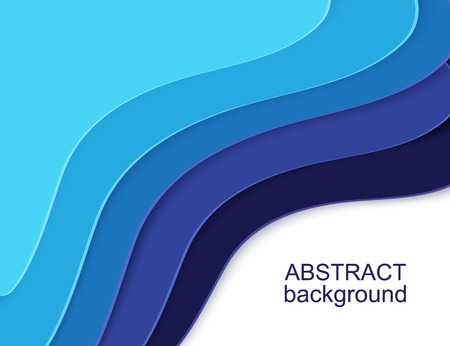Layered Paper Cut shapes 3D abstract background. Blue water waves banner. Colorful papercut layout for presentation, article and header. Layered curves origami art. Place for text. Vector illustration Ilustração