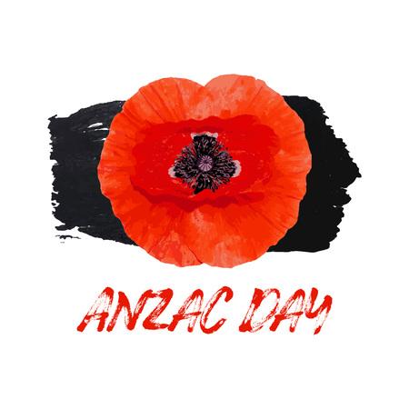 Anzac Day Memorial banner. Red Poppy flower International Remembrance Day symbol of peace. Hand drawn brush stroke black color. Vector Illustration EPS 10 file.