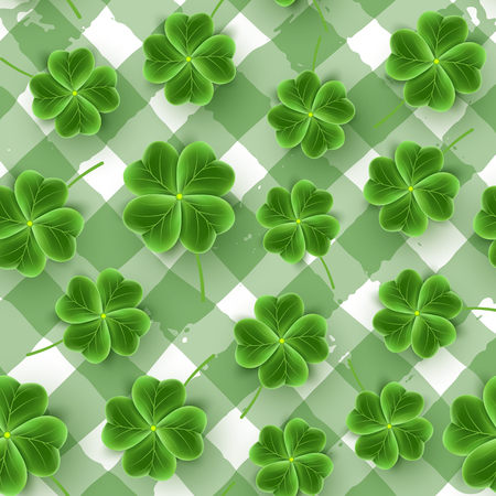 St Patricks Day seamless pattern of realistic Clover leaves. Green Shamrock grass wallpaper for holidays design. Lucky flower striped texture for Irish festival. Scottish ornament. Vector illustration Illusztráció