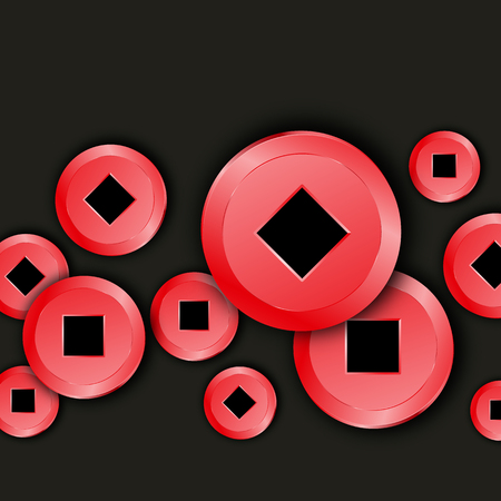 Chinese Coins banner. Red color Asian 3D money isolated on black background. Symbol of blessing, lucky and fortune. Shiny Oriental currency. Texture asian value traditional frame. Vector illustration