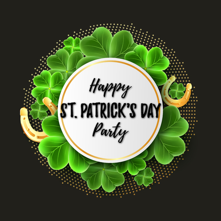 Happy Saint Patricks Day Party banner with realistic Clover leaves and Gold Horseshoe luck icon. Horizontal holidays poster. Lucky Irish pattern texture. Scottish ornament. Vector illustration