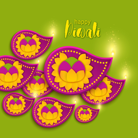 Happy Diwali holiday paper banner with diya lamp, rangoli and marigold flower. Indian festival poster. Origami craft, decor of house. Sikh, swanti, tihar.
