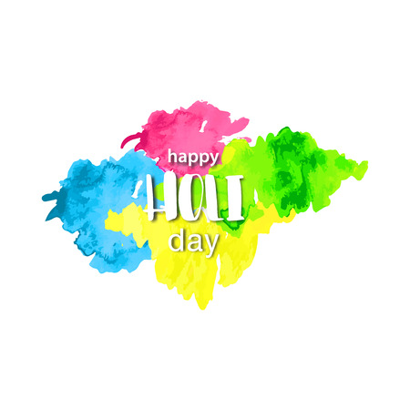 Happy HOLI Day lettering watercolor banner with hand drawn textured splashes. Hindu, Dhulandi, Rangpanchami festival card. Painted blust, powder explosion, fluid.