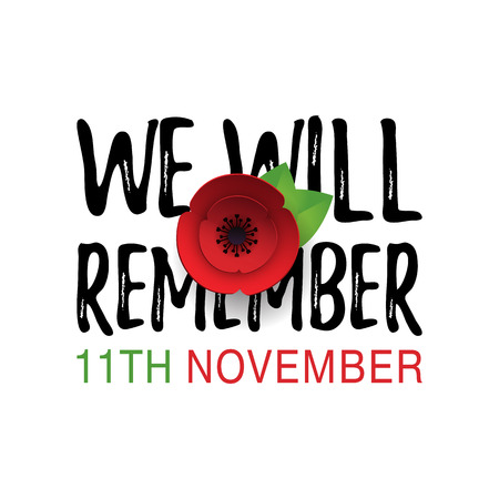 Remembrance Day vector poster. Paper cut Red Poppy flower - international symbol of peace. Lest We Forget lettering. 11th November date text. Craft origami print style. Vector Illustration EPS10  イラスト・ベクター素材