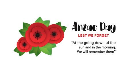 Affiche commémorative de l'Anzac Day. Fleur de pavot rouge découpée en papier - symbole international de paix. N'oublions pas le texte isolé sur blanc. Branche de coquelicots du souvenir. Impression artisanale d'origami. Illustration vectorielle