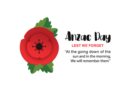 Anzac Day Poppy invitation card. Lest We Forget quote. 25th April date