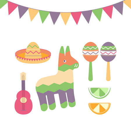 Cinco de Mayo festival in Mexico icons set flat style. Colorful collection of traditional ethnic symbols for Mexican parade with maracas, pinata, fruits, sombrero and guitar. Vector illustration