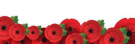 Remembrance, Anzac Day web header. Paper cut Red Poppy flower - International symbol of peace. Memorial banner, poster with a place for text. Invitation, craft origami print. Vector Illustration.