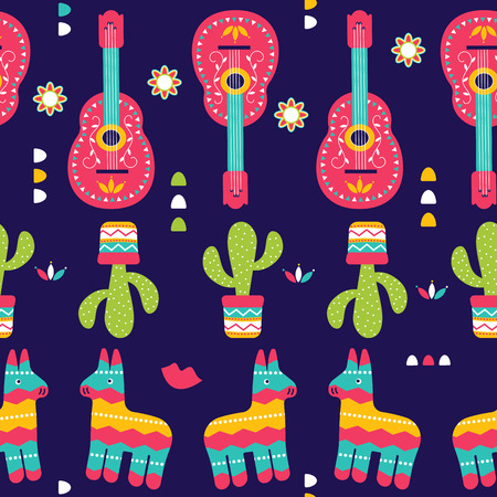 Cinco de Mayo Seamless Pattern for festival in Mexico, flat style. T-shirt print of traditional Mexican ethnic symbols with pinata, cactus plants and guitar isolated on violet. Vector illustration