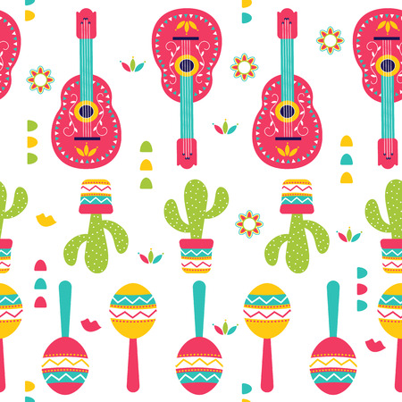 Cinco de Mayo Seamless Pattern for festival in Mexico, flat style. T-shirt print of traditional Mexican ethnic symbols with maracas, cactus plants and guitar isolated on white. Vector illustration
