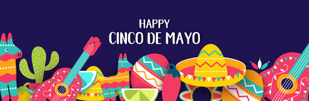 Cinco de Mayo Mexican festive banner. Horizontal poster of Mexican culture symbols collection: maracas, pinata, jalapeno, fruit, sombrero, cactus, guitar. Cinco de Mayo web header. Vector illustration