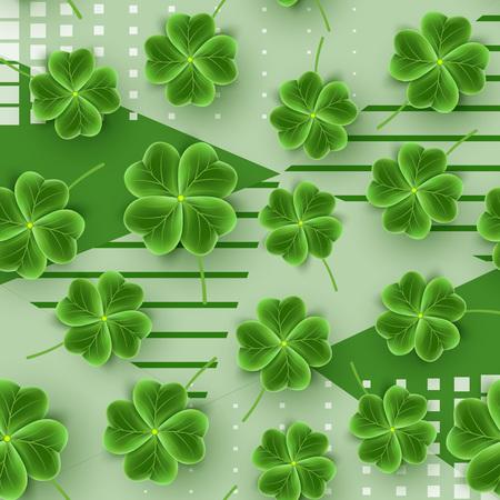 St Patricks Day seamless pattern of realistic Clover leaves. Green Shamrock grass wallpaper for holidays design. Lucky flower striped texture for Irish festival. Scottish ornament. Vector illustration Illustration
