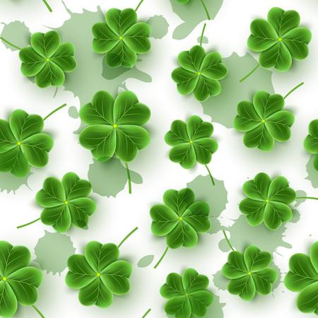 St Patricks Day seamless pattern of realistic Clover leaves. Green Shamrock grass wallpaper for holidays design. Lucky flower brush texture for Irish festival. Scottish ornament. Vector illustration