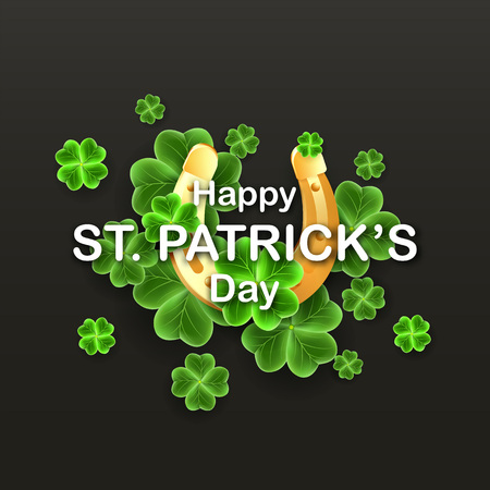 Happy Saint Patrick's Day Party banner with realistic Clover leaves and Gold Horseshoe luck icon. Festiv holidays poster. Lucky Irish traditional texture. Scottish ornament. Vector illustration Banque d'images - 124602487