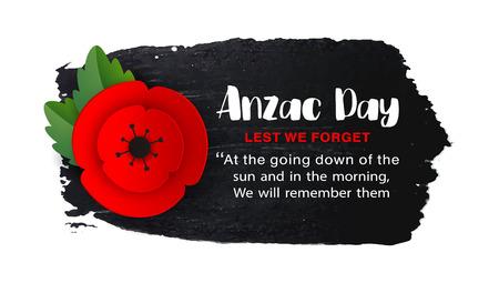 Anzac Day Memorial Veteranen Poster. Scherenschnitt rote Mohnblume - internationales Symbol des Friedens. Damit wir den Text, isoliert auf weiss, vergessen. Erinnerung an Mohnblumenzweig. Origami herstellen. Vektorillustration