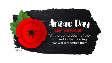 Anzac Day memorial Veterans poster. Paper cut Red Poppy flower - international symbol of peace. Lest We Forget text isolated on white. Remembrance poppies branch. Craft origami. Vector Illustration