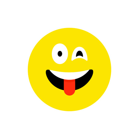 Happy face smiling emoji with open mouth. Funny Smile flat style. Cute Emoticon symbol. Smiley, laugh icon. For mobile app, messenger. Expressive cartoon avatar on white backdrop.